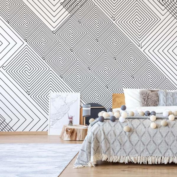 Modern Geometric Pattern White And Grey Photo Wallpaper Wall Mural