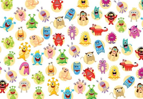 Monsters Pattern Photo Wallpaper Wall Mural