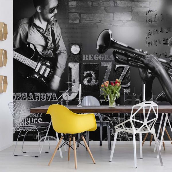 Music Jazz Black And White Photo Wallpaper Wall Mural