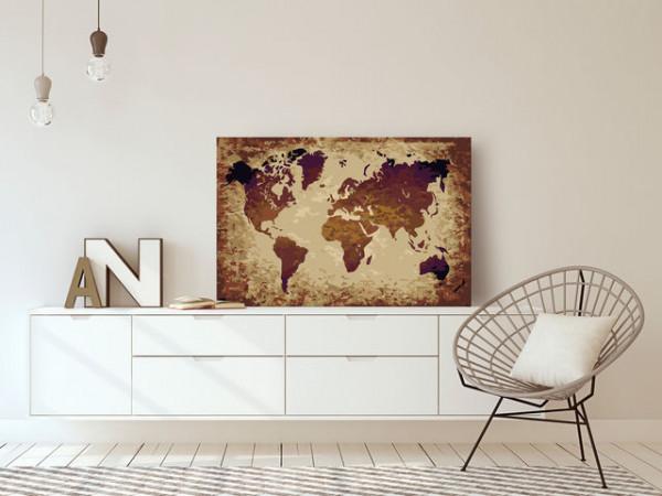 Pictatul pentru recreere - World Map (Brown Colours)