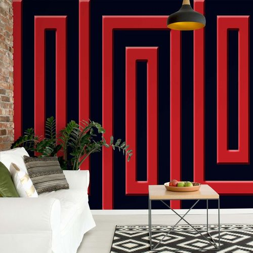Red And Black Geometric Pattern Photo Wallpaper Wall Mural