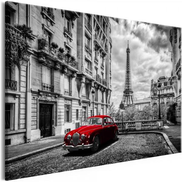 Tablou - Car in Paris (1 Part) Red Wide