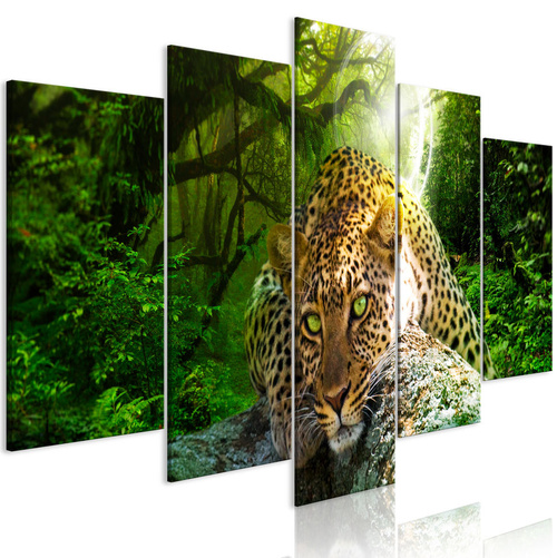 Tablou - Leopard Lying (5 Parts) Wide Green
