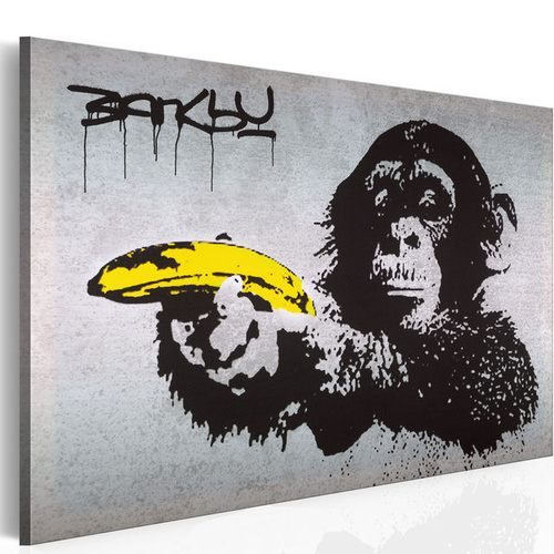 Poze Tablou - Stop or the monkey will shoot! (Banksy)
