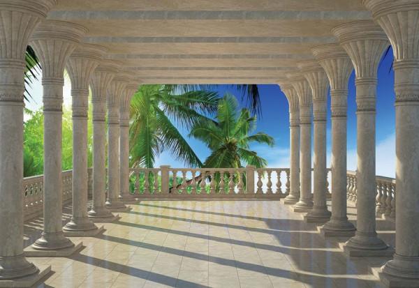 Tropical Beach 3D View Through Columns Photo Wallpaper Wall Mural