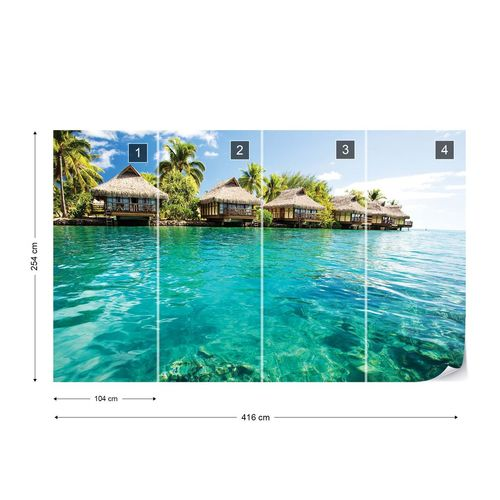 Tropical Lagoon Villas Photo Wallpaper Wall Mural