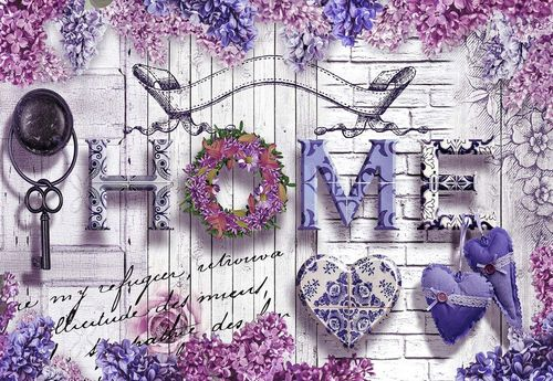 "Vintage Chic ""Home"" Flowers And Wood Texture Photo Wallpaper Wall Mural"