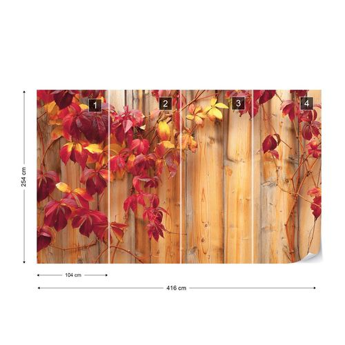 Wood Fence Flowers Photo Wallpaper Wall Mural