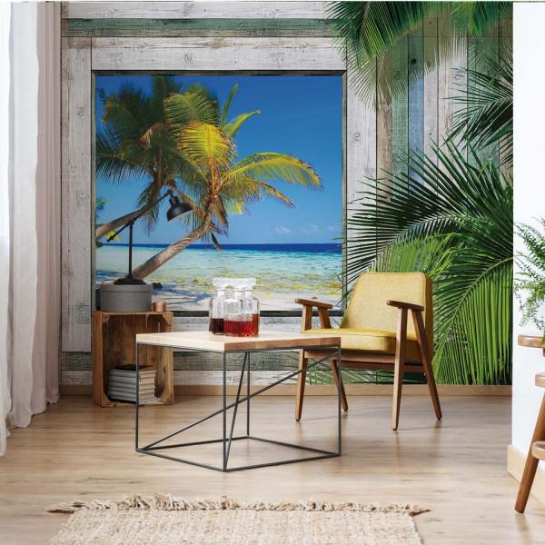 Wood Plank Window Tropical Beach View Photo Wallpaper Wall Mural