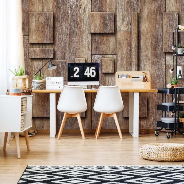 Wood Planks Texture 3D Rectangles Photo Wallpaper Wall Mural