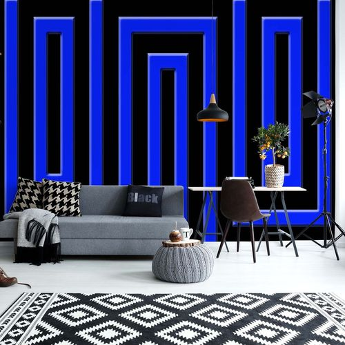 Black And Blue Geometric Pattern Photo Wallpaper Wall Mural