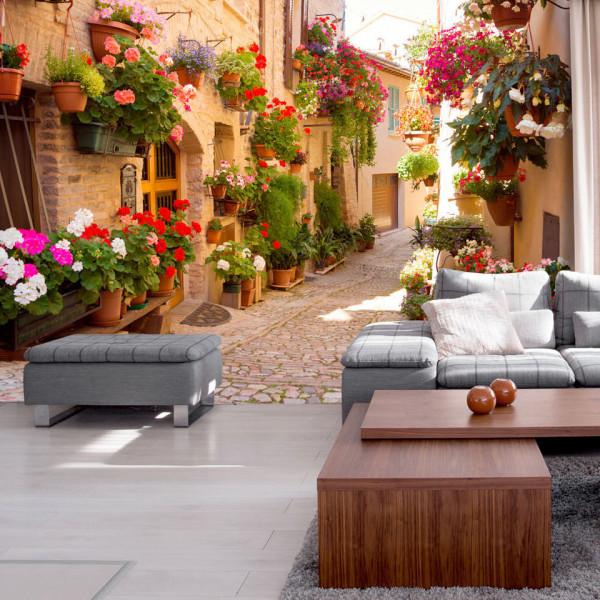 Fototapet - The Alley in Spello (Italy)