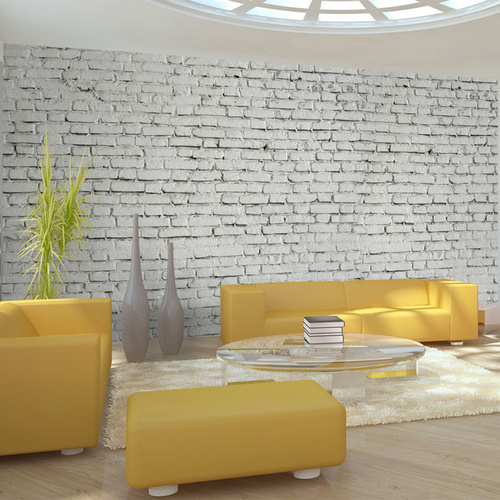 Poze Fototapet XXL - Wall made from white raw brick