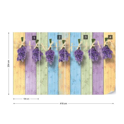 Lavender Bunches On Painted Wood Plank Wall Vintage Style Photo Wallpaper Wall Mural