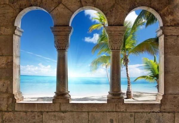 Paradise Island Beach View Through Stone Arches Photo Wallpaper Wall Mural