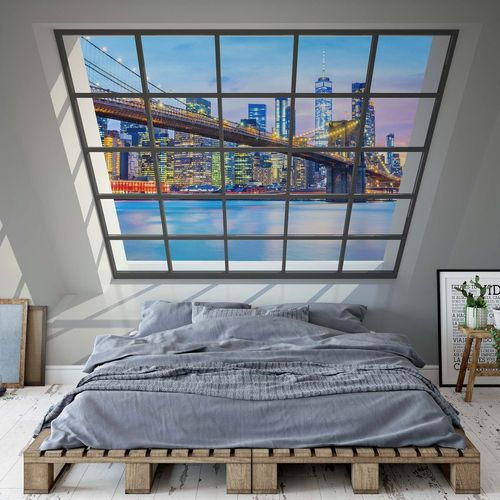 Penthouse Window Brooklyn Bridge New York View