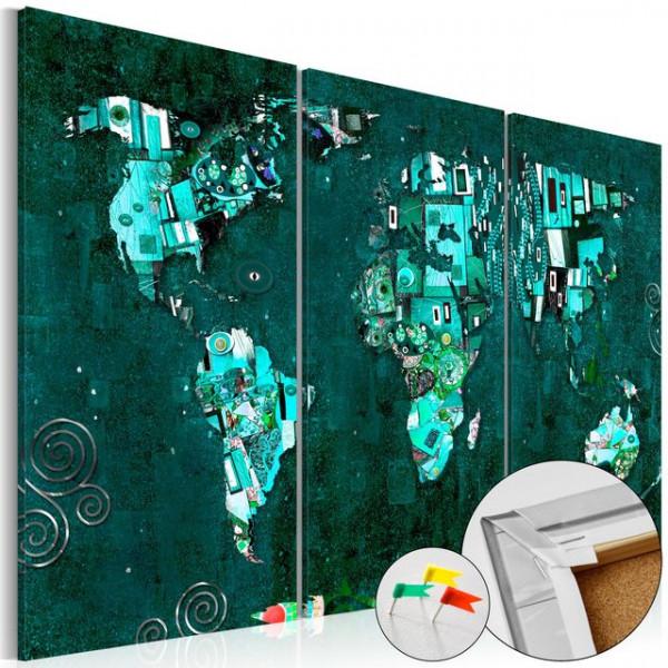 Tablou din plută - Emerald World [Cork Map]