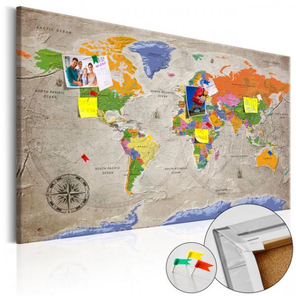 Tablou din plută - World Map: Retro Style [Cork Map]