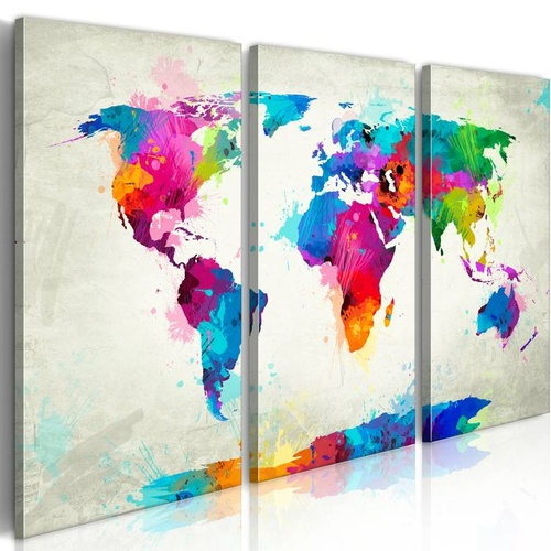 Tablou - World Map: An Explosion of Colors