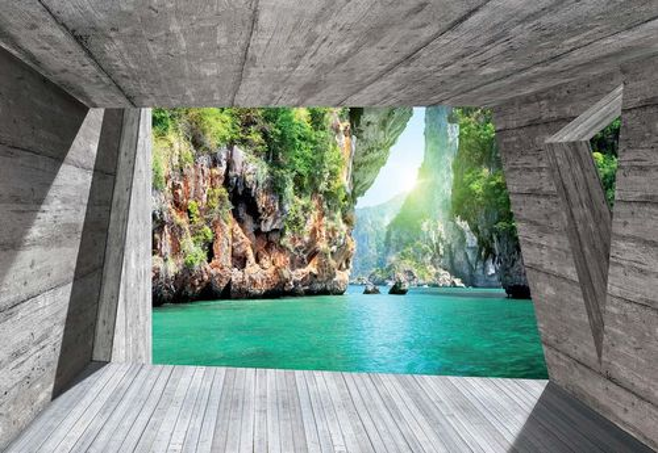 Tropical Lagoon 3D Concrete Modern Architecture View Photo Wallpaper Wall Mural