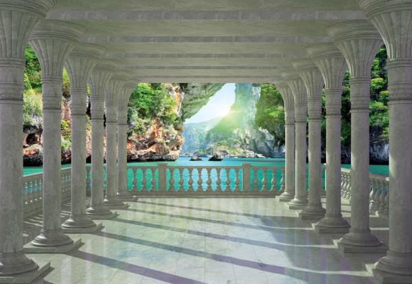 Tropical Lagoon 3D View Through Columns Photo Wallpaper Wall Mural