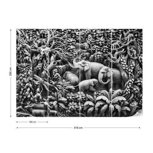 3D Carved Wood Jungle Elephants Black And White Photo Wallpaper Wall Mural