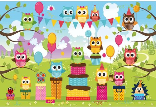 Cartoon Owl Party Photo Wallpaper Wall Mural