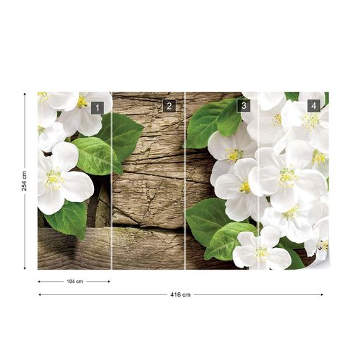 Flowers On Rustic Wood Texture Photo Wallpaper Wall Mural