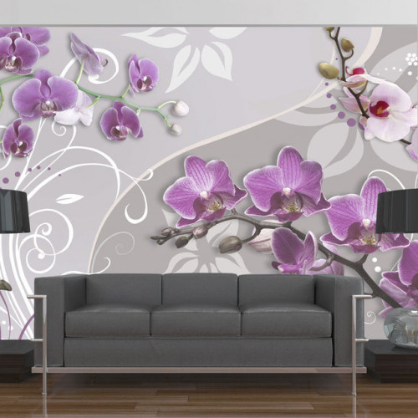 Fototapet - Flight of purple orchids