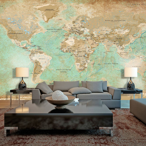 Poze Fototapet XXL - Turquoise World Map II