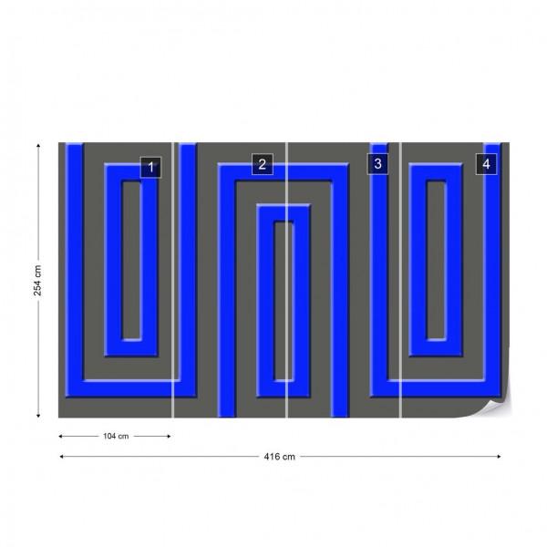 Grey And Blue Geometric Pattern Photo Wallpaper Wall Mural