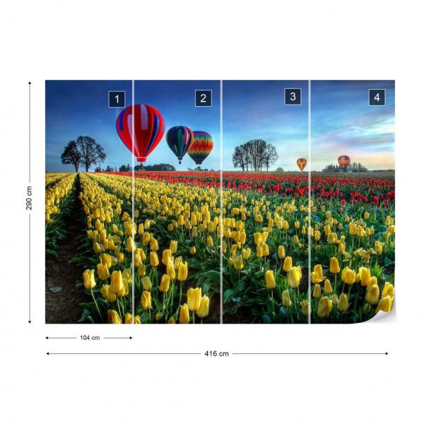 Hot Air Balloons Over Tulip Field Photo Wallpaper Mural