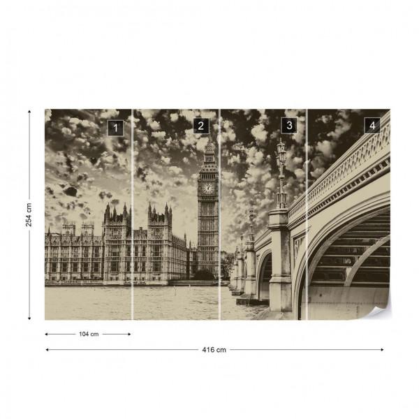 Houses Of Parliament London City Sepia Photo Wallpaper Wall Mural