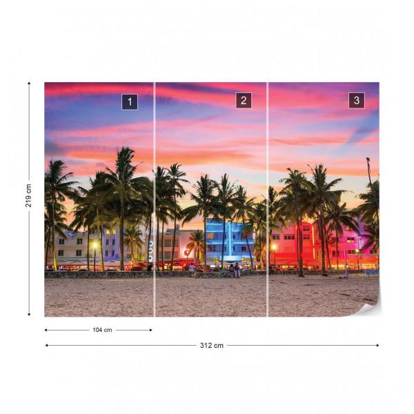 Miami Sunset Photo Wallpaper Wall Mural
