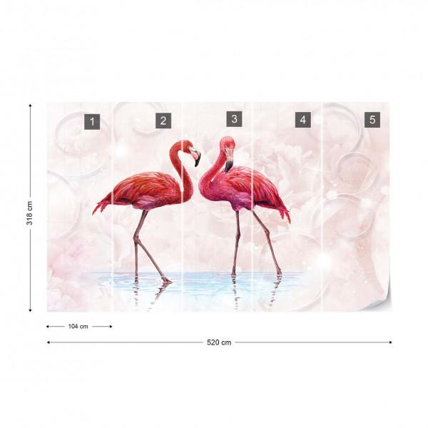 Modern Tropical Flamingos Photo Wallpaper Wall Mural