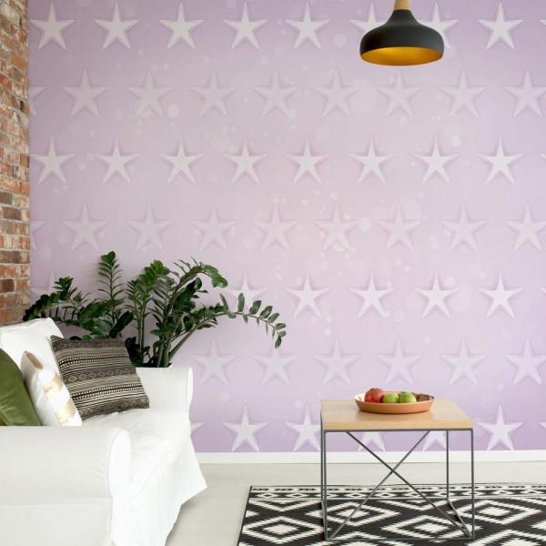 Stars Pattern Light Purple Photo Wallpaper Wall Mural