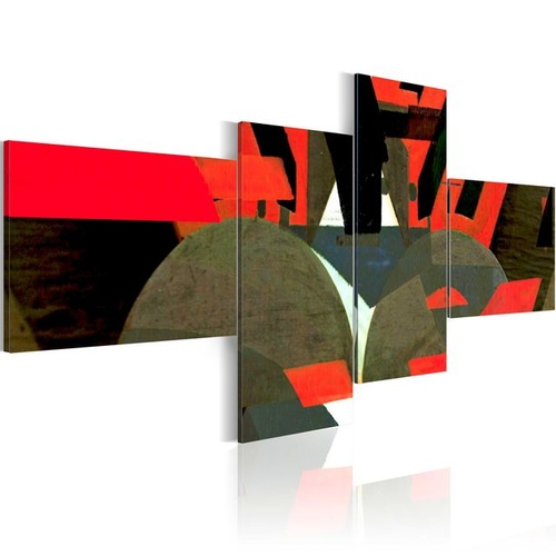 Tablou - Black, red and abstract shapes