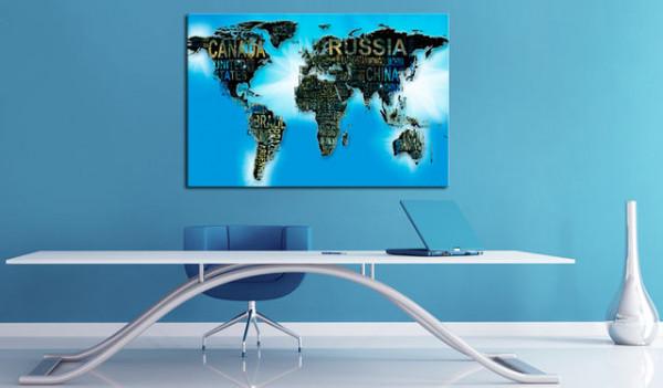 Tablou din plută - Blue World [Cork Map]
