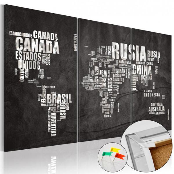 Tablou din plută - El Mundo [Cork Map]