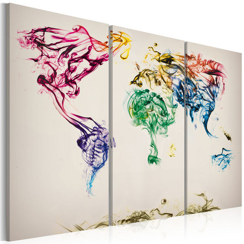 Tablou - The World map - colored smoke trails - triptych