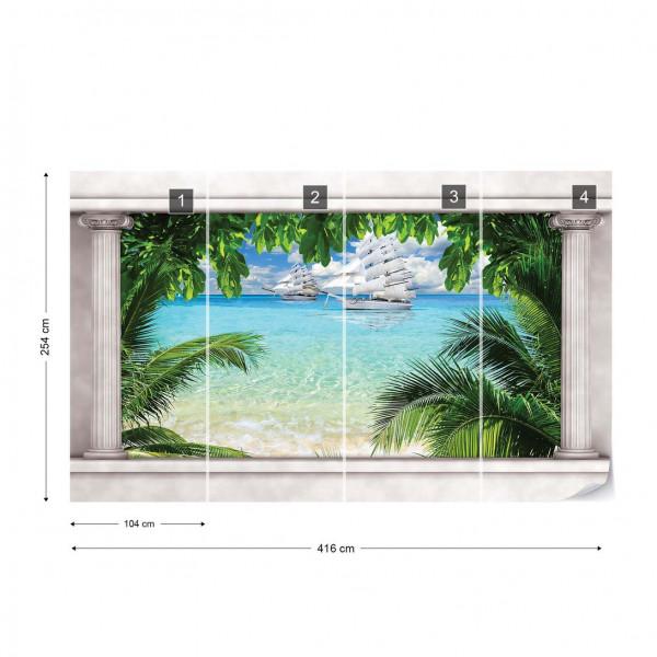 Tropical Beach Roman Column View Photo Wallpaper Wall Mural