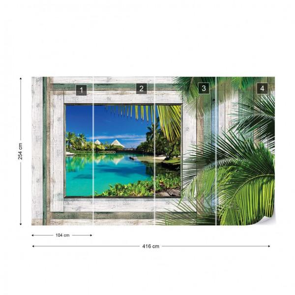 Wood Plank Window Tropical Lagoon View Photo Wallpaper Wall Mural