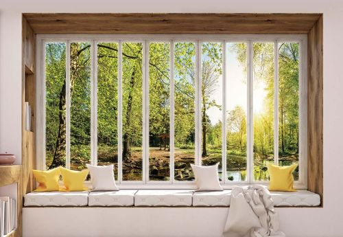 3D Window View Forest Photo Wallpaper Wall Mural