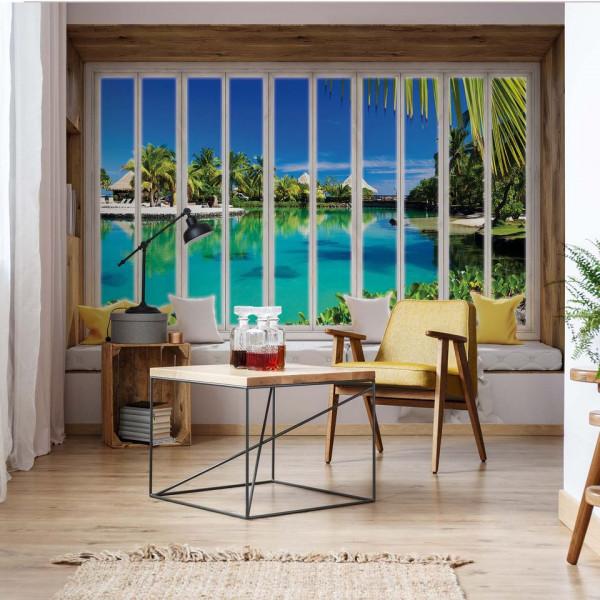 3D Window View Tropical Lagoon Photo Wallpaper Wall Mural