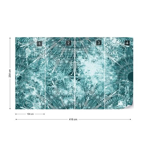 Blue Turquoise Vintage Grunge Design Photo Wallpaper Wall Mural