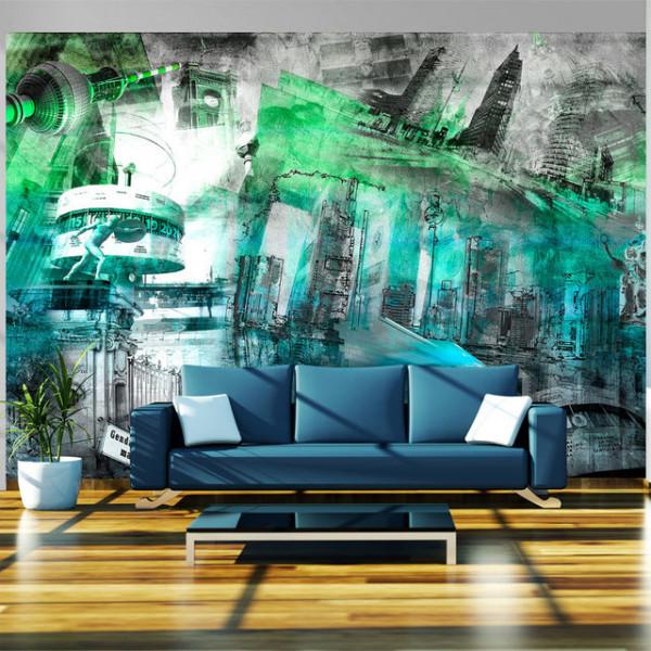 Fototapet - Berlin - collage (green)
