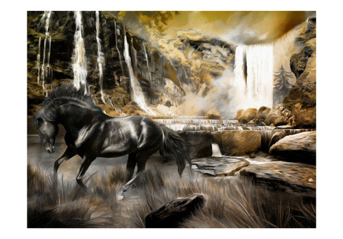 Poze Fototapet - Black horse and rocky waterfall