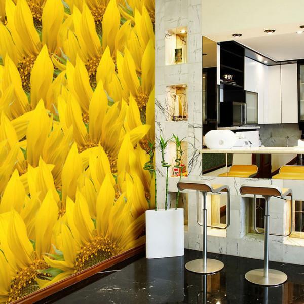 Fototapet - sunflowers - background