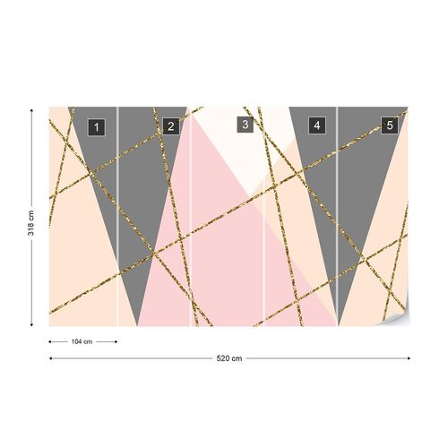 Modern Geometric Triangles Design Photo Wallpaper Wall Mural
