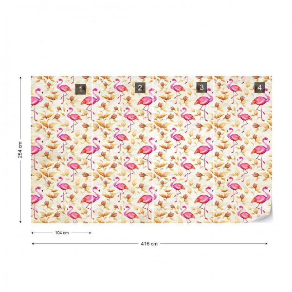 Modern Tropical Flamingo Pattern Yellow Photo Wallpaper Wall Mural